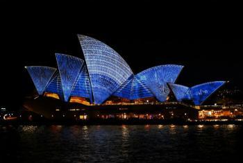 """La Ópera de Sydney será uno de los edificios emblemáticos en participar en la campaña """"Pinta el mundo de azul de la ONU"""". Foto: Prudence Upton"""