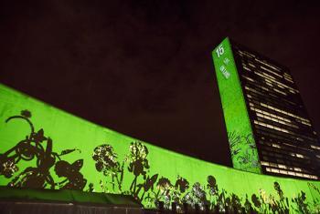Edificio de Naciones Unidas en Nueva York durante el reciente lanzamiento de los Objetivos de Desarrollo Sostenible. Foto ONU: Cia Pak.
