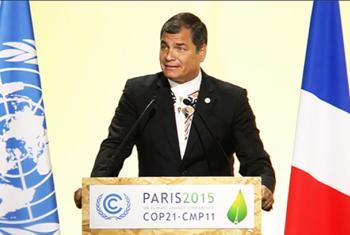 El presidente de Ecuador, Rafael Correa, pronuncia un discurso en la sesión inaugural de la Conferencia COP21 en París. Video captura sitio web COP 21.