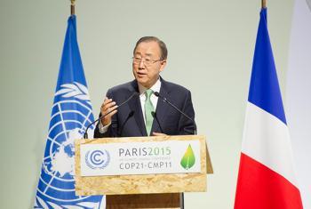 Ban Ki-moon en la inauguración de la COP21 de París. Foto ONU: Rick Bajornas.