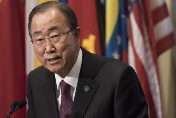 El Secretario General hizo declaraciones sobre la COP21. Foto ONU/Mark Garten
