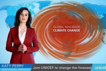 Katy Perry en una imagen del video de UNICEF. Captura de video/UNICEF.