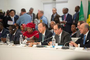 Ban Ki-moon durante la reunión de alto nivel sobre África y Cambio Climático celebrada en París. Foto ONU: Rick Bajornas.