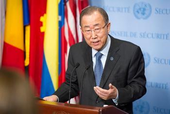 El Secretario General de la ONU, Ban Ki-moon, durante rueda de prensa en Nueva York sobre el acuerdo climático tras su regreso de París. Foto ONU: Rick Bajornas