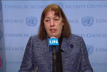 Virginia Gamba, Responsable del Mecanismo Conjunto Investigador de la ONU y la Organización para la Prohibición de Armas Químicas (OPAQ) sobre el uso de ese tipo de armas en Siria, atendiendo a los medios de comunicación. Foto: Captura de Video. UNTV.