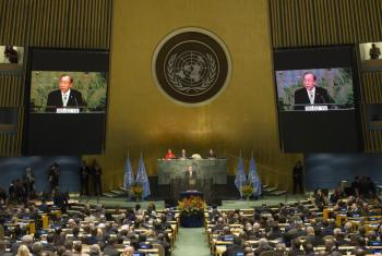 El Secretario General de la ONU dio apertura a la ceremonia de firma del Acuerdo de París. Foto ONU/Amanda Voisard.