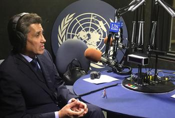 El Embajador de México, Juan José Gómez Camacho, durante la entrevista en los estudios de Radio ONU. Foto: Lorena Alvarado