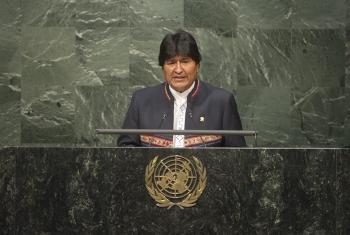 Evo Morales en la Asamblea Genral de la ONU durante la sesión de apertura de la firma del Acuerdo de París sobre Cambio climático. Foto ONU: Rick Bajornas.
