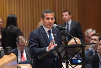 El presidente de Perú, Ollanta Humala, este jueves, en su discurso ante la UNGASS. Foto: ONU/Eskinder Debebe