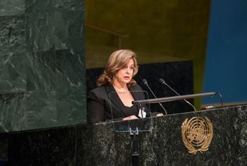 La ministra de Justicia de Cuba, María Esther Reus, este miércoles, en la Asamblea General de la ONU. Foto: ONU/Loey Felipe