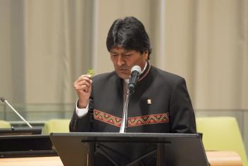 El Presidente de Bolivia, Evo Morales, habla ante la Sesión Especial de la Asamblea General sobre el Problema de las Drogas. Foto ONU-Eskinder Debebe