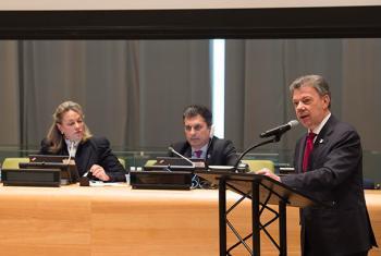 El presidente de Colombia, Juan Manuel Santos, este jueves, en su discurso ante la UNGASS. Foto: ONU/Eskinder Debebe