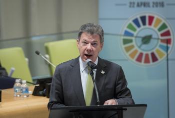 El Presidente de Colombia, Juan Manuel Santos, describe al cambio climático como el mayor reto que haya enfrentado la humanidad en su historia.Foto ONU: Manuel Elias.
