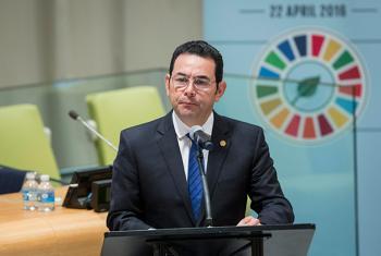 El Presidente de Guatemala, Jimmy Morales, manifestó que el Acuerdo de París consituye un hito histórico y llamó a todos los países a implementarlo. Foto ONU: Manuel Elías.