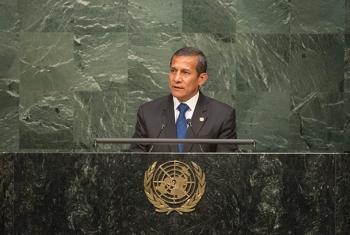 Ollanta Humala en la Asamblea Genral de la ONU durante la sesión de apertura de la firma del Acuerdo de París sobre Cambio climático. Foto ONU: Rick Bajornas.