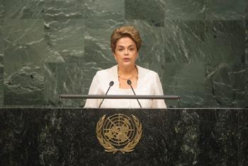 Dilma Rousseff señaló que la mitigación del cambio climático requiere de una movilización continua y de recursos adecuados. Foto ONU: Rick Bajornas.