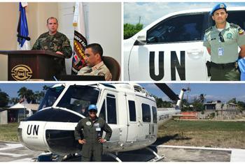 El teniente coronel Martín Álvarez (izq.), el oficial de policía Nelson Barrera y la teniente Daniela Espinosa. Foto: MINUSTAH