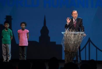 Ban Ki-moon durante su discurso en la Cumbre Humanitaria Mundial. Foto: ONU/Eskinder Debebe.