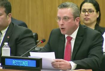 El gobernador de Puerto Rico, Alejandro García Padilla, habla ante el Comité de Descolonización de la ONU. Captura de video/Radio ONU