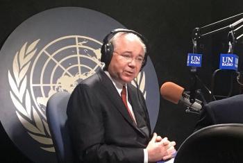 El Embajador de Venezuela ante la ONU, Rafael Ramírez, ofrece declaraciones a Radio ONU. Foto Archivo : Cortesía Misión de Venezuela.