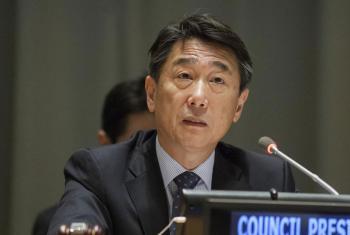 El Presidente del ECOSOC Oh Joon habla este lunes en el Foro Político de Alto Nivel sobre Desarrollo Sostenible. Foto ONU/Loey Felipe