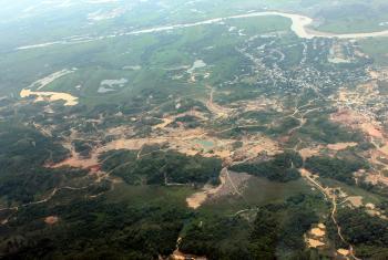 Imagen tomada sobre zona de explotación de oro de aluvión Puerto Claver , Antioquia. Foto: UNODC Colombia
