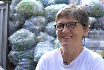 Ana Martínez de Luco, promotora del centro de reciclaje Sure We Can, en el barrio neoyorquino de Brooklyn. Foto: ONU