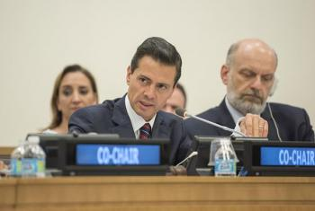 El presidente de México, Enrique Peña Nieto, copreside una reunión sobre refugiados y migrantes en la sede de la ONU en Nueva York Foto:ONU/Loey Felipe