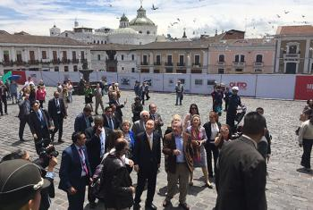 Ban Ki-moon en Quito, Ecuador. Foto: Redes Sociales ONU / Ariel Alexovich