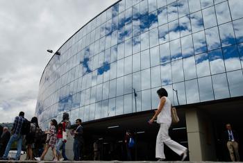 """La Conferencia de Naciones Unidas sobre Vivienda y Desarrollo Urbano Sostenible, Hábitat III tiene como sede la Casa de La Cultura Ecuatoriana, en Quito. La OMS lanzó la campaña """"Respira Vida"""" en el marco de esta Conferencia de la ONU. Foto: Rocío Franco."""