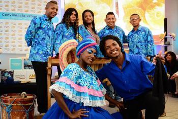 Grupo Tierra Negra Internacional, de Esmeraldas, en la conferencia de la ONU Hábitat III. Foto: Radio ONU/Rocío Franco