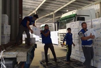 Provisiones enviadas por el Programa Mundial de Alimentos (PMA) para responder a la emergencia que se espera tras la ofensiva militar iraquí para recuperar el control de Mosul de manos del ISIS. Foto: PMA/Alexandra Murdoch