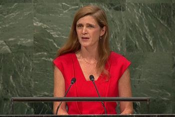 Samantha Power, hoy en su discurso ante la Asamblea General de la ONU. Foto: TV ONU/captura de pantalla