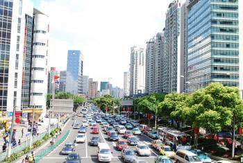 Una calle de Shanghai, China.