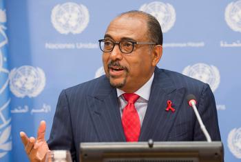 El director ejecutivo de ONUSIDA, Michel Sidibé, durante la conferencia de prensa en Nueva York. Foto ONU: Eskinder Debebe.