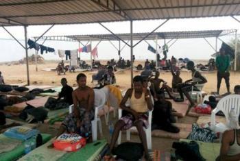 Migrantes etíopes evacuados de Yemen en Djibouti. Foto: OIM