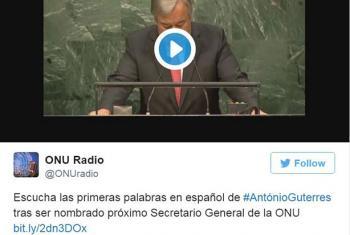 Tweet sobre el primer discurso de António Guterres tras ser nombrado Secretario General de la ONU. Foto: captura de pantalla Twitter @ONUradio