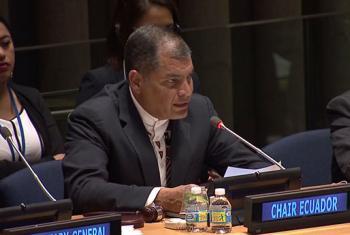 Rafael Correa durante la ceremonia de transferencia de la presencia del G77. Foto: Captura de pantalla