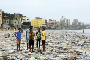 El Promotor de los Océanos de ONU Ambiente, Lewis Pugh, se une a voluntarios locales en Mumbai, India, para la limpieza de la playa. Foto: ONU Ambiente
