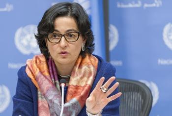 Arancha González, Directora Ejecutiva del Centro de Comercio Internacional en una conferencia en la Comisión de la Condición Jurídica y Social de la Mujer. Foto: ONU/Paulo Filgueiras