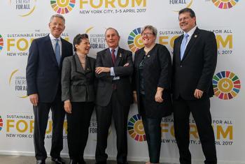 David Weston, Christina Figueres, Michael Bloombert, Rachel Kyte y Maroš Šefčovič en el Foro de Energía Sostenible para Todos. Foto: Noticias ONU / Elizabeth Scaffidi