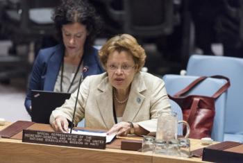 Sandra Honoré, la Representante Especial del Secretario General y Jefa de la MINUSTAH, presenta un informe al Consejo de Seguridad. Foto ONU/ Rick Bajornas.
