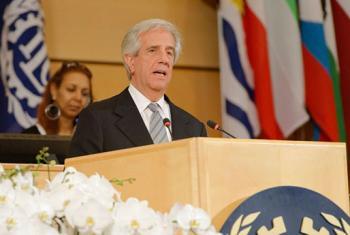 El presidente de Uruguay, Tabaré Vázquez, interviene en la jornada inaugural de la 106 Conferencia Internacional del Trabajo de la OIT. Foto: OIT