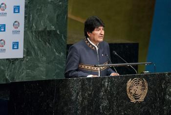 El presidente de Bolivia, Evo Morales, se dirige a los participantes en la inauguración de la Conferencia sobre los Océanos, este lunes, en la Asamblea General de Naciones Unidas. Foto: ONU/Kim Haughton