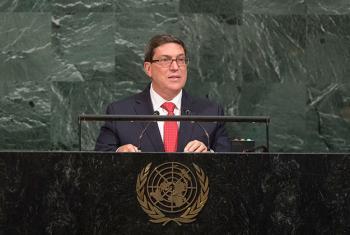 El canciller cubano, Bruno Rodríguez, interviene ante la Asamblea General. Foto: ONU / Cia Pak