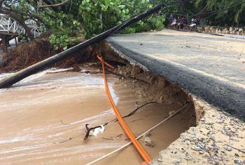Desperfectos causados por el huracán Irma en la localidad de las Terrenas. Foto PNUD: Alejandro Adames/Colaborador del proyecto Biodiversidad Costera y Turismo. PNUD y Ministerios de Medio Ambiente y Turismo.