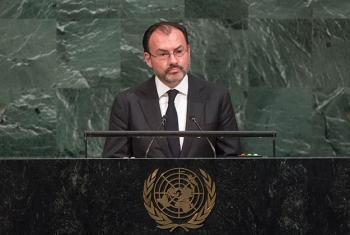 El secretario de Exteriores de México, Luis Videgaray, interviene ante la Asamblea General. Foto: ONU / Cia Pak