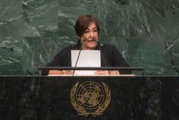La embajadora de Nicaragua ante la ONU, Maria Rubiales de Chamorro, interviene ante la Asamblea General. Foto: ONU / Cia Pak