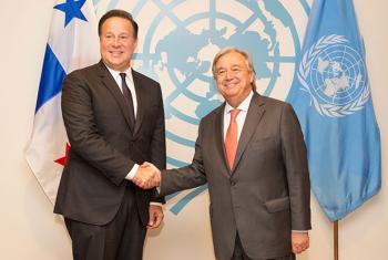 El presidente de Panamá, Juan Carlos Varela, con el Secretario General de la ONU. Foto: ONU