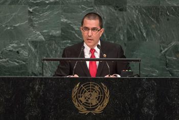 El canciller de Venezuela, Jorge Arreaza, interviene ante la Asamblea General. Foto: ONU / Cia Pak